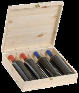 Cassetta Legno per Quattro Bottiglie di Vino 750 ml   Serigrafata Dispensas